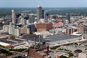 Indiana Scenes Framed Prints - Aerial of Downtown Indianapolis Indiana Framed Print by Bill Cobb