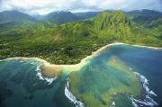 Featured Prints - Aerial of Kauai Coast Print by Kicka Witte