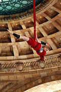 Stop Posters - Aerial Ribbon Performer at Pennsylvanian Grand Rotunda Poster by Amy Cicconi
