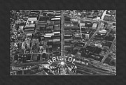 Virginia Postcards Posters - Aerial View of Bristol TN Va Poster by Denise Beverly