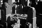 Twin Towers World Trade Center Prints - Aerial View Of Ground Zero Liberty Plaza Taken From Helicopter New York City Print by Joe Fox