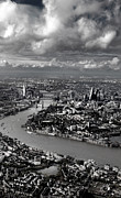 London Skyline Art - Aerial view of London 4 by Mark Rogan