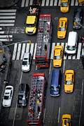 Buses Posters - Aerial View of New York City Traffic Poster by Amy Cicconi