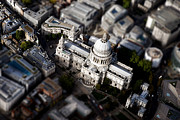 Skylines Framed Prints - Aerial view of St Pauls Cathedral Framed Print by Mark Rogan