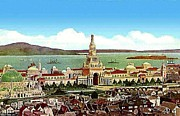 Alcatraz Painting Prints - Aerial View Of The Panama Pacific Expo In San Francisco Ca 1915 Print by Dwight Goss