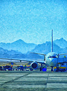 Terminal Digital Art Prints - Aeroplane At Airport Print by Antony McAulay