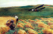 World War One Paintings - Aeroplane - Crashed by Charles Ross