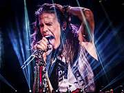 Hand In Hair Posters - Aerosmith Steven Tyler Singing In Concert Poster by Jani Bryson