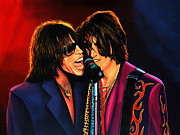 Singer Paintings - Aerosmith Toxic Twins by Paul Meijering