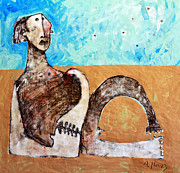 Acrylic Mixed Media Framed Prints - AETAS No 12  Framed Print by Mark M  Mellon