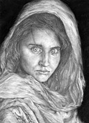 Geo Drawings Prints - Afghan Girl Print by Avery Wilson
