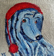 Christmas Dogs Prints - Afghan Hound Christmas Print by Victoria Lakes