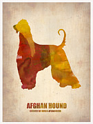 Pets Art Digital Art Metal Prints - Afghan Hound Poster Metal Print by Irina  March