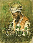 Asian Artist Drawings - Afghanistan Harvest 78 - Watercolor Drawing by Peter Art Print Gallery  - Paintings Photos Posters