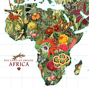 Antique Digital Art Prints - Africa Flower Map Print by Gary Grayson