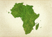 Africa Grass Map Print by Aged Pixel