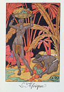 Fall Grass Framed Prints - Africa illustration for a calendar for 1921 Framed Print by Georges Barbier
