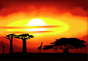 Nobody Digital Art Prints - Africa sunset Print by Michal Boubin