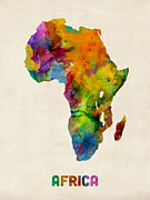 Africa Watercolor Map Print by Michael Tompsett