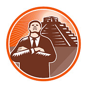 Arms Digital Art - African American Businessman Protect Pyramid by Aloysius Patrimonio