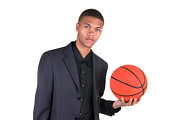 American Professional Basketball Player Posters - African American holding basketball Poster by Joe Belanger