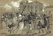 Town Square Drawings Prints - AFRICAN AMERICAN SOLDIERS return HOME from WAR - 1866 Print by Daniel Hagerman