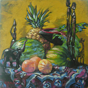 African Prints Paintings - African Artifacts by Gloria  Nilsson