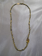 French Jewelry Originals - African beads hydro champagne quartz necklace by Jan Durand