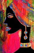 Jewellery Mixed Media Posters - African Beauty Poster by Anne Costello