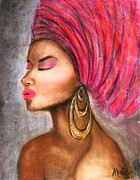 Figures Pastels - African Bride with Gele. by Mbwidiffu Malgwi