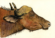 Cape Buffalo Paintings - African buffalo head by Juan  Bosco
