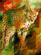Cheetah Painting Posters - African Cheetah Poster by Christiaan Bekker