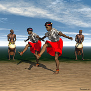Drummers Digital Art Metal Prints - African Dancers and Drummers - 2 Metal Print by Walter Neal