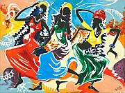 Traditional Art Painting Originals - African Dancers No. 2 by Elisabeta Hermann