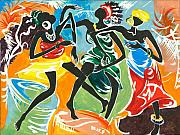 Traditional Art Painting Originals - African Dancers No. 3 by Elisabeta Hermann