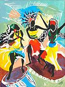 Traditional Art Painting Originals - African Dancers No. 4 by Elisabeta Hermann