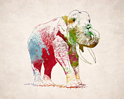 Animal Drawings Posters - African Elephant Drawing Poster by World Art Prints And Designs