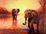Tanzania Paintings - African Elephants at Sunset in the Serengeti by Sher Nasser