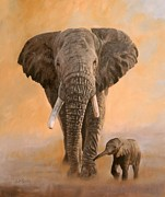 Orange Sunset Posters - African Elephants Poster by David Stribbling