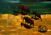 Impressionism Modern and Contemporary Art  By Gregory A Page - African Elephants