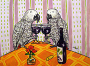 Wine Making Painting Prints - African Grey Parrots Making a Toast Print by Jay  Schmetz
