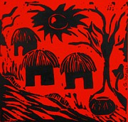 Lino Art - African Huts Red by Caroline Street
