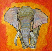 Grey Clouds Drawings Prints - African Male Elephant Print by Ella Kaye
