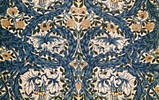 Blue And Orange Prints - African Marigold design Print by William Morris