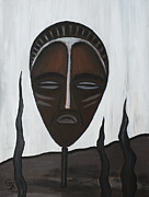 Tribal Art Paintings - African Mask II by Eva-Maria Becker