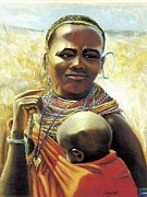 Plain Pastels Posters - African Mother and Child Poster by JAXINE Cummins