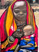 Negro Painting Framed Prints - African Mother And Child Framed Print by Jo-Ann Hayden