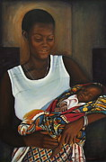 Ontario Portrait Artist Paintings - African Mother and Child by Sheila Diemert