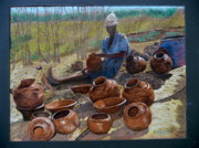 Rashid Hamza - African Pots and girl.