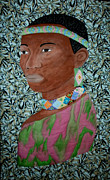 Folk  Tapestries - Textiles - African Queen by Linda Egland